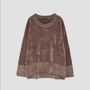 Zara Chenille Sweater - Dusty Mauve